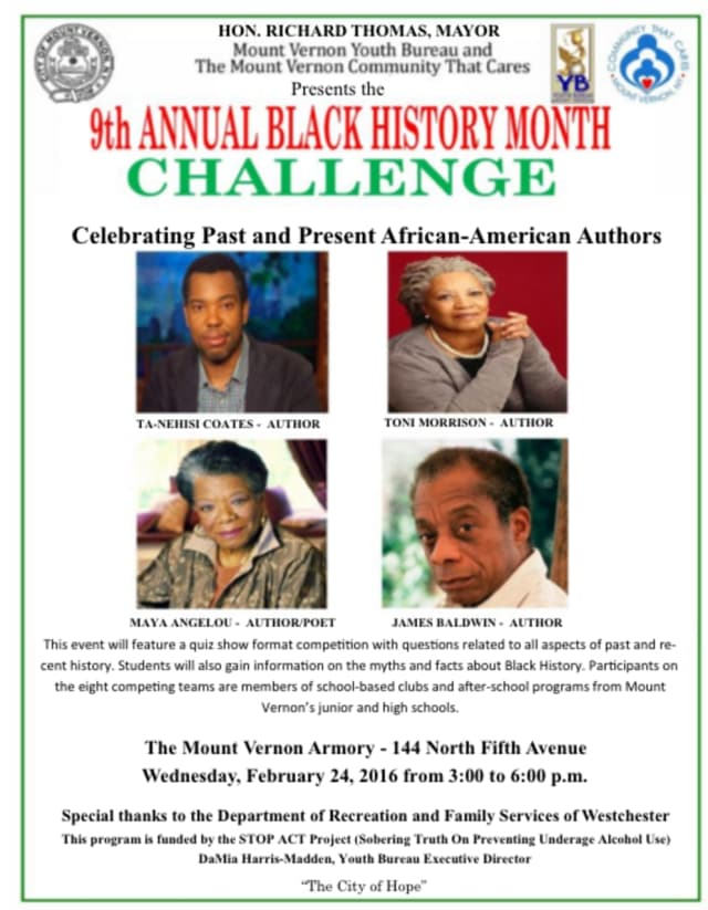 Mount Vernon's ninth annual Black History Month Challenge takes place Wednesday.