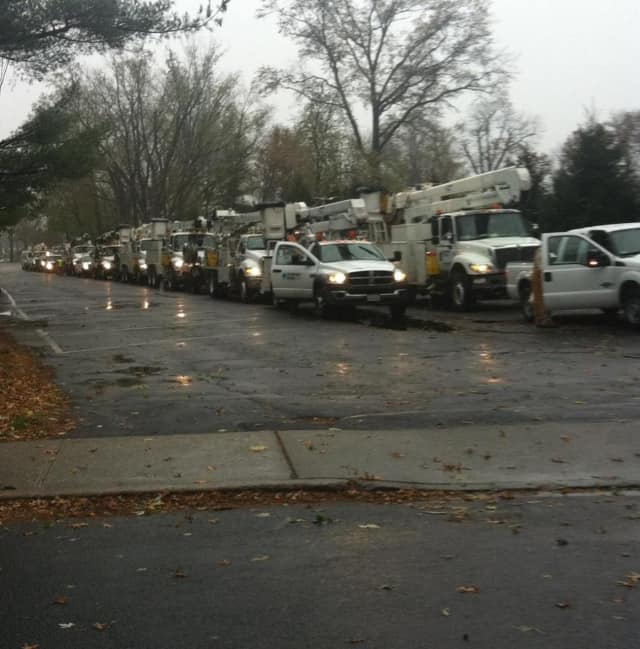 Utility trucks lined up in the Graydon parking lot following Hurricane Sandy.