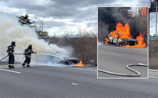 Hackensack firefighters doused the car blaze on Route 80.
