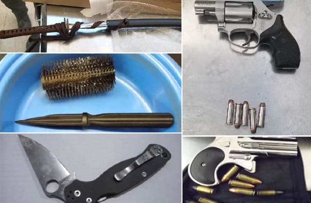 "Guns, a sword and ""the ol' dagger in the dirty hairbrush trick"" are among the weapons seized by TSA agents nationwide."