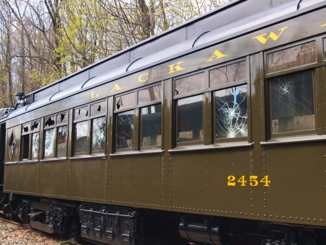 A rare railway car, which recently underwent extensive renovations, was damaged in an act of vandalism in Boonton.