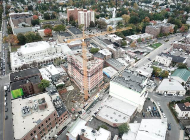 An aerial view of a 28-story development in New Rochelle.