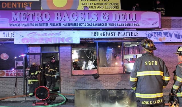 The overnight fire seriously damaged Metro Bagels & Deli in Saddle Brook.