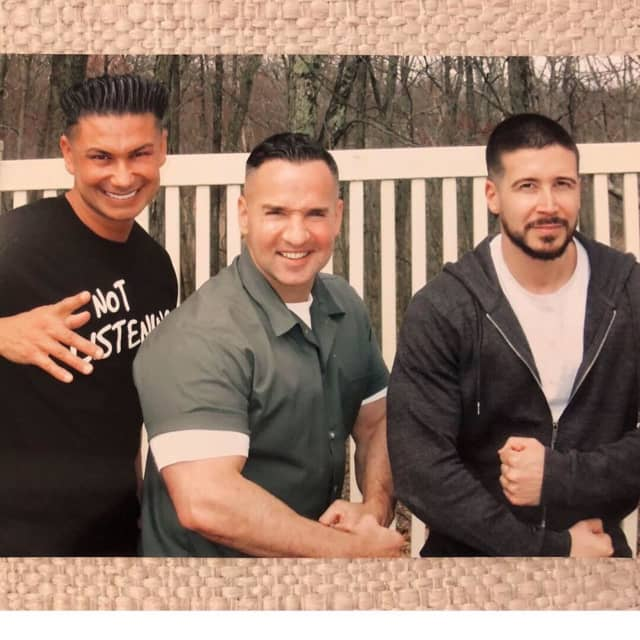 "Mike Sorrentino, center, got a visit from ""Jersey Shore"" cast members Pauly DelVecchio and Vinny Guadagnino while in prison."