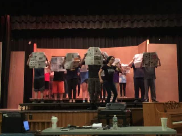 "Saddle Brook students rehearse for a production of ""The Mystery of Edwin Drood."""