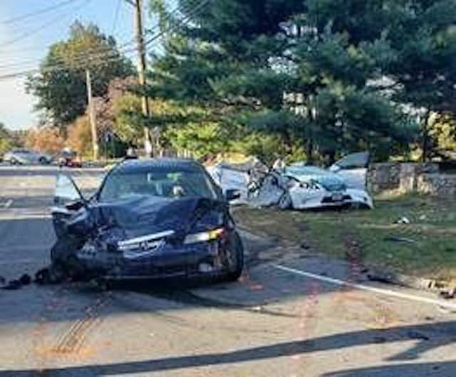 A 78-year-old woman was killed in a two-car crash in Bridgeport.