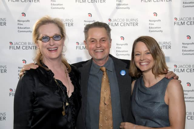 Jonathan Demme (c) with Meryl Streep (l) and Jodie Foster (r).