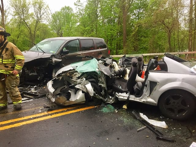 Four people were injured in a two-vehicle crash in Yorktown.