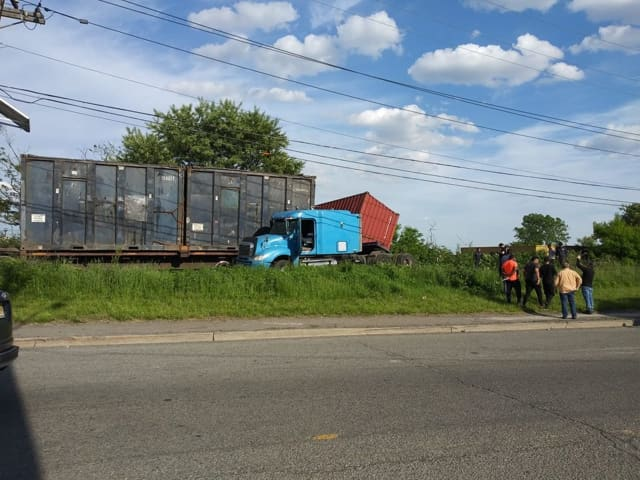 A truck collided with a freight train Thursday evening in Kearny.