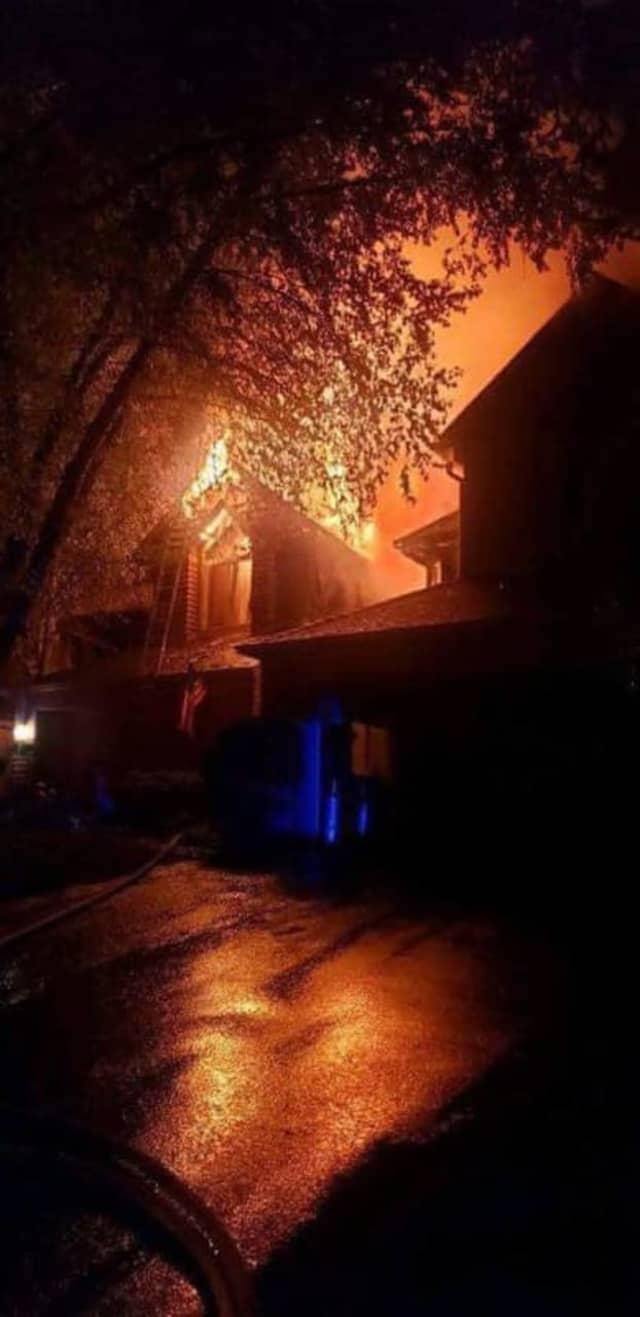 Firefighters battled a blaze in Hardyston Saturday night.