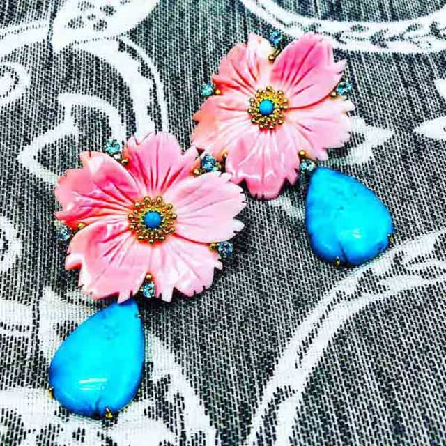 Alex Soldier's Mother of Pearl Convertible Earrings are among the treasures the jeweler has crafted for mom's big day. Courtesy Alex Soldier.