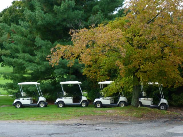 Three women were injured, Bedford Police said, after a golf cart at GlenArbor Golf Club rolled over. Pictured are a series of unrelated carts.
