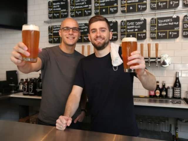 Doug Cedrone, left, and Brendan Carroll, right, of Bronxville's Beer Noggin.