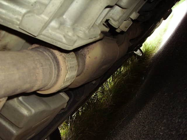 Orangetown police say thefts of catalytic converters like this one on a Saab 9-5 are on the rise.