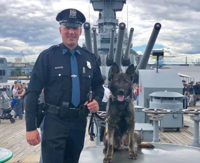Maywood Police K-9 Ryker, here with his handler, Maywood Police Officer Chris Nichols, is an expansion of the department's K-9 unit. The unit is funded through seized assets and donations.