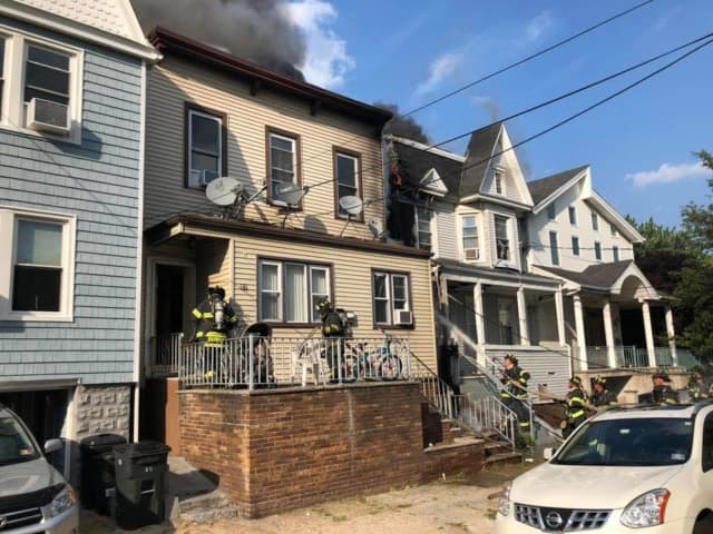 A fire in Bayonne left two homes heavily damaged Wednesday.