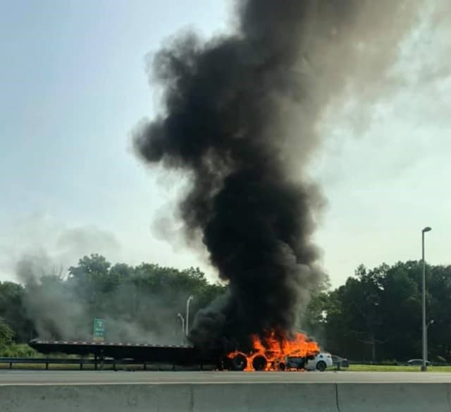 The collision occurred on the westbound side near Exit 45 around 7:40 a.m., State Police said.