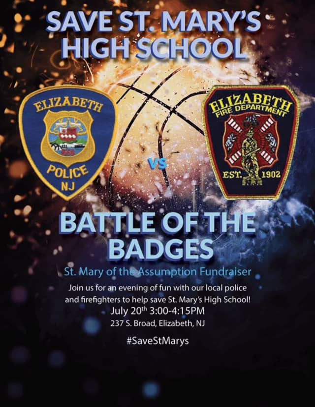 Elizabeth's finest and bravest are meeting up for a charity basketball game to help raise money for St. Mary School, which is slated to close.