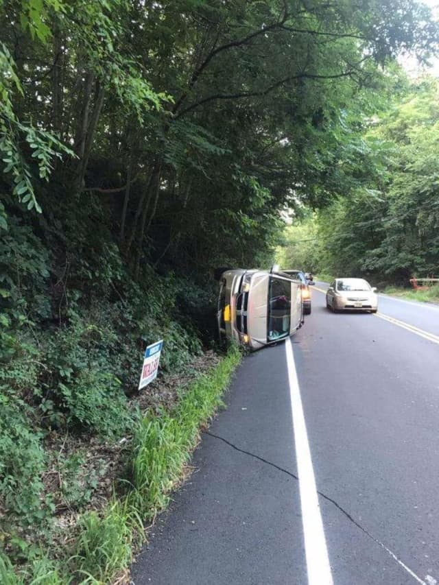 A driver attempting to avoid another vehicle ended up with their vehicle on its side.