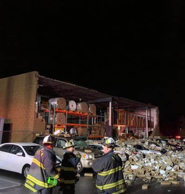 The side of a building collapsed during severe thunderstorms that moved through the area.
