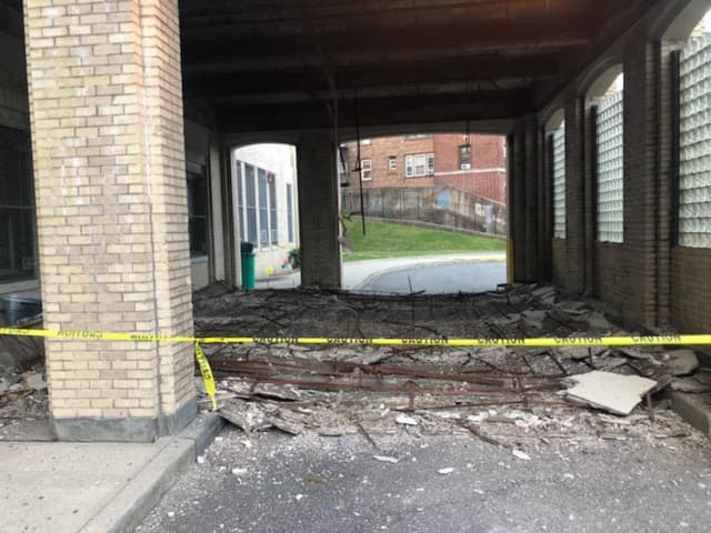 The A. Harry Moore School in Jersey City suffered a partial roof collapse. The school building will be closed pending the completion of repairs and an inspection, but officials are trying to find alternate locations for classes.
