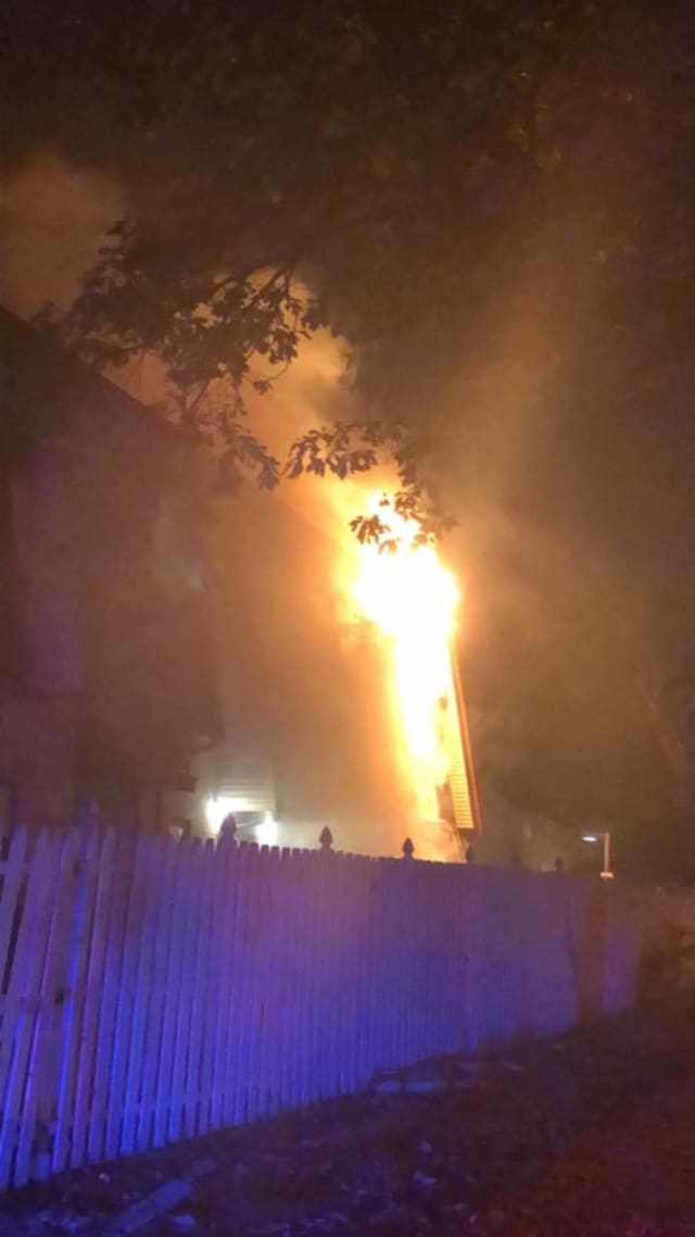 A fire ripped through an Elizabeth apartment building Tuesday night, displacing dozens of people