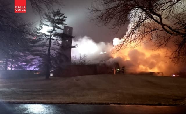 Damage to the Church of the Most Blessed Sacrament in Franklin Lakes was complete, authorities said.