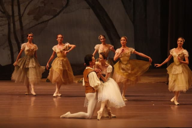 """Sergei Polunin and Svetlana Zakharova star in the Bolshoi Ballet's """"Giselle,"""" which will be simulcast into movie theaters around the world April 8. Photograph by Damir Yusupov."""