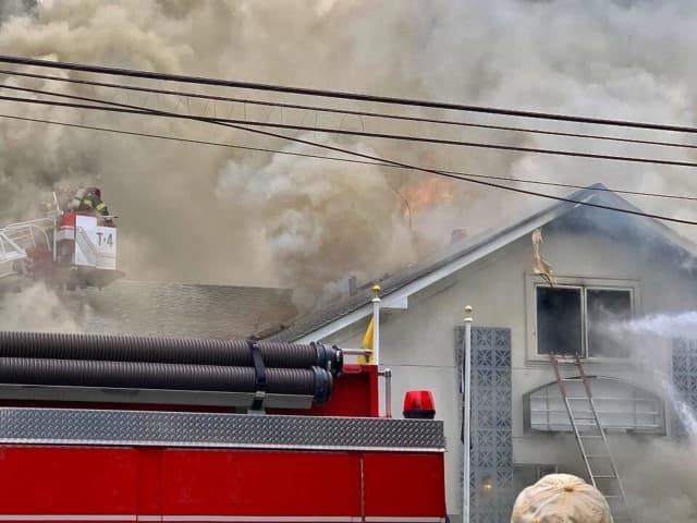 Fire is ripping through the VFW Post in Lindenhurst.
