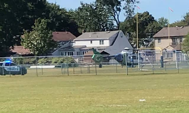 AirMed One landed at the Saddle Brook High School field off Mayhill Street.