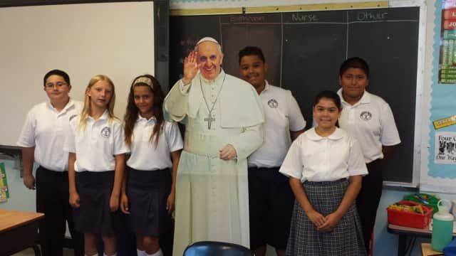 """Pope Francis made a """"visit"""" to the Immaculate Conception School in Tuckahoe on Wednesday."""
