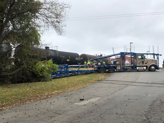 A train was hit by a CSX train while crossing the tracks.