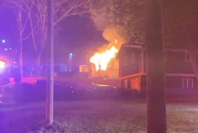 A wood-frame home was destroyed by fire in Monroe.