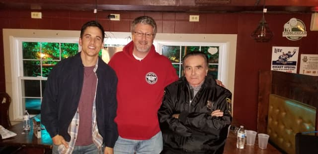Owner of the Golden Rail Ale House, Brian Butler, along with film stars Mike C. Manning on the left, Dan Hedaya on the right.