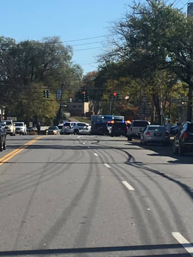 Tarrytown Road was closed for several hours following a four-vehicle crash that involved a bus.