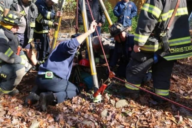 Rescuers get to the 68-year-old resident who fell into a dry well in Hillsdale.
