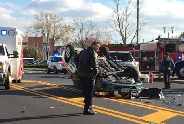 The eastbound Camry struck one vehicle, rolled, then hit another on Edgewater Avenue in #CliffsidePark, police said. #dailyvoice