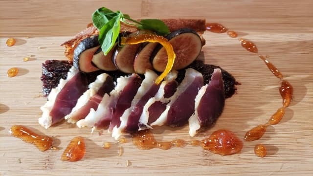 House Cured Duck Prosciutto. Fig Two Ways, Fig-Port Tapenade and Ripe Fig. Candied Orange Zest. Toast. Fig-White Balsamic Gastrique.