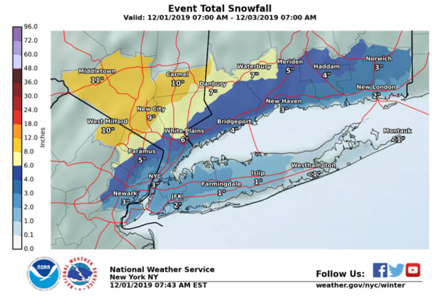 Bergen County could get five inches of snow Monday, the NWS said.