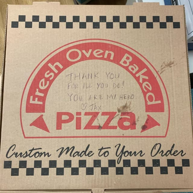 A Nutley boy dropped off a few pizzas at police HQ as a thank-you to law enforcement last week