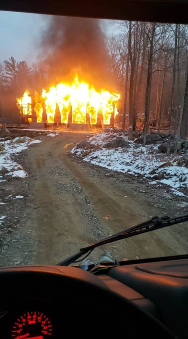 A home under construction in Putnam Valley was engulfed by flames.