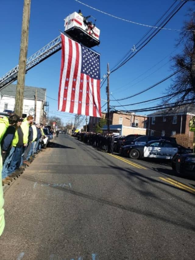 At the final drive-by Wednesday for Dumont Police Sgt. James Flaherty Jr.