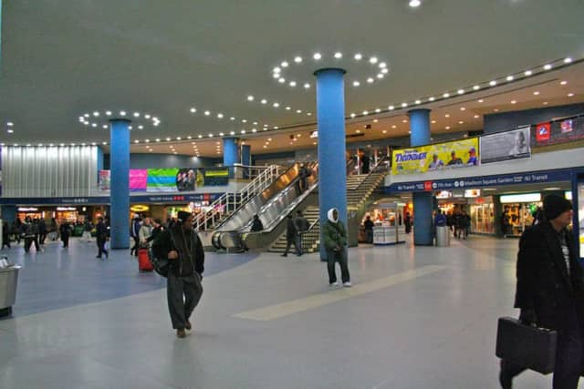 The Amtrak concourse at Penn Station.
