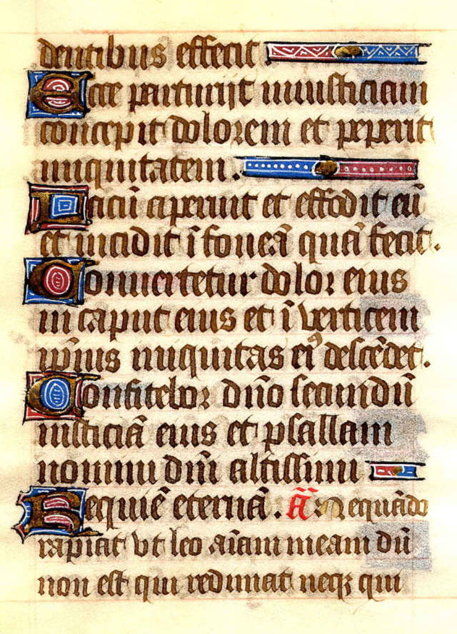 A copy of Psalm 7 written by French monks in the 15th century. Artists today have created works of art designed to re-imagine some of the Psalms..