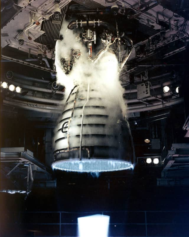 A remote camera captures a close-up view of a Space Shuttle Main Engine during a test firing at the John C. Stennis Space Center in Hancock County, Mississippi.