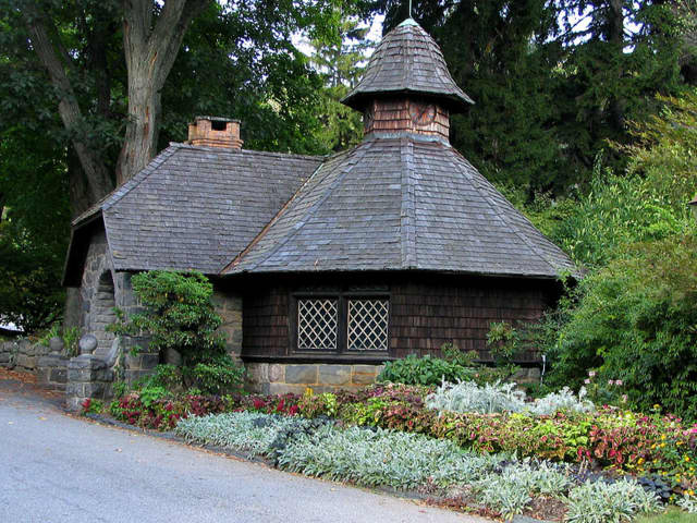 An outbuilding is shown at Skylands Manor where public tours Sunday, July 11 offer a chance to learn about the Tudor mansion's architecture and history and enjoy the grounds.