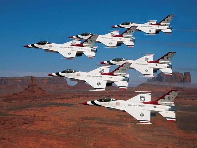 The Thunderbirds shown flying in formation over Utah.