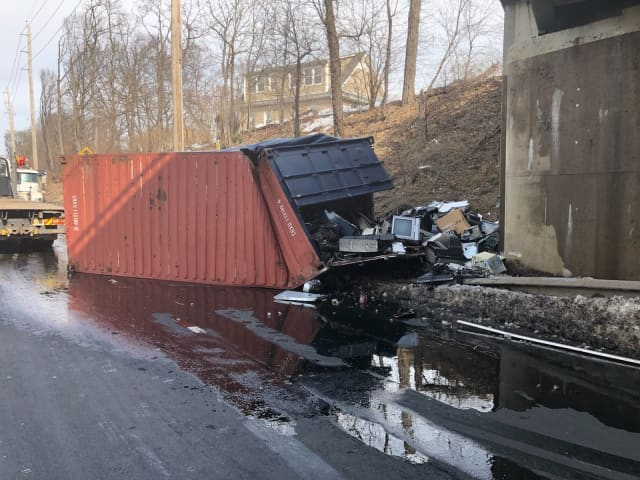 The container that hit the bridge on Route 208 in Fair Lawn dumped some items.