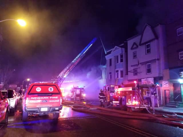 Three firefighters were injured fighting a Newark blaze Friday night.