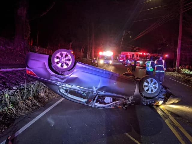 Westport police responded to a single-vehicle rollover crash that injured one.